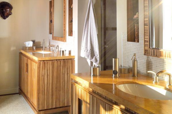 Exotic wood bathroom